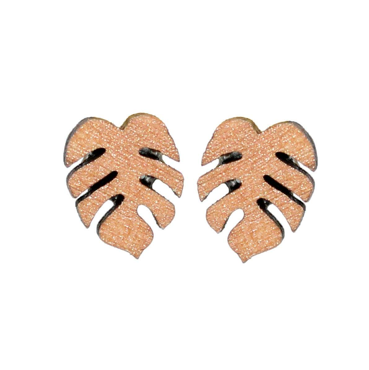 Rose Gold Monstera Stud Earrings