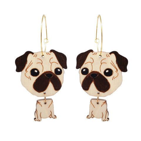 Pug Dog Hoops Earrings