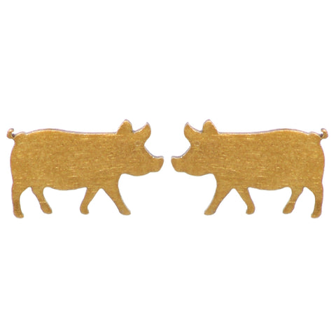 Gold Pig Earrings