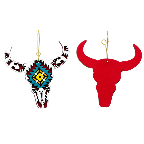White Cow Skull Hoops