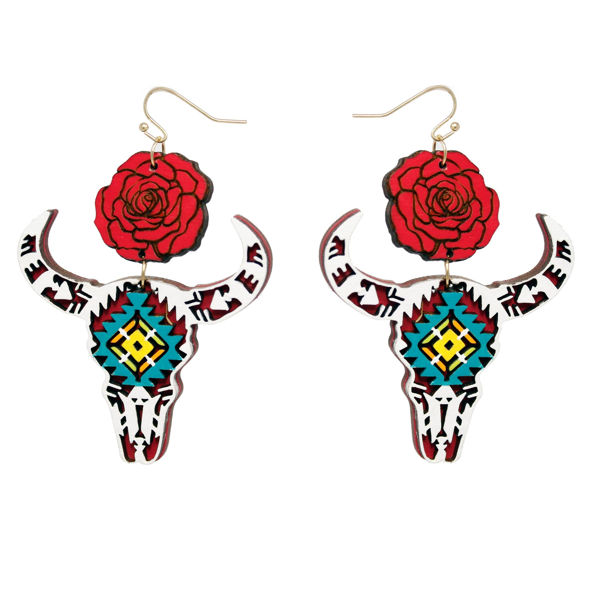 White Cow Skull Rose Earrings