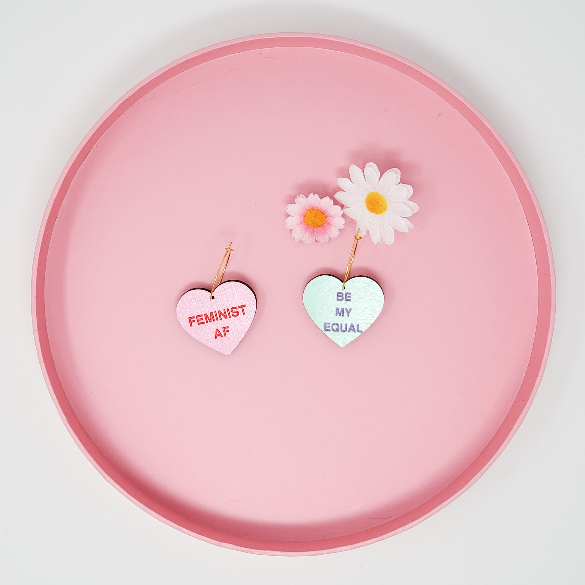 Feminist Conversation Heart Hoops