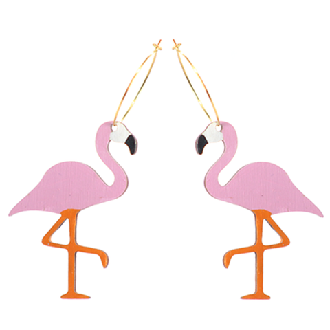Pink Pastel Flamingo Hoops