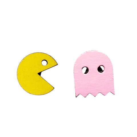 PAC-MAN with Pink Ghost Studs
