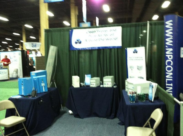 Blurry image of our booth at spa pool show