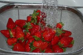 Strawberries being cleaned with an A2Z Ozone Aqua Touch Ozone Generator
