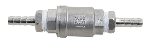 Half Inch NPT by Three Quarter's Inch Barbed Stainless Steel Check Valve, Back View