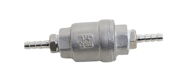 Quarter Inch NPT by Quarter Inch Barb Stainless Steel Check Valve, Back View