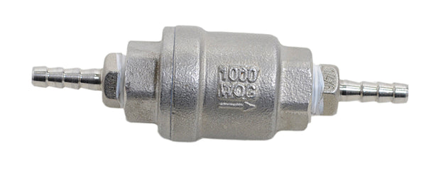 Quarter Inch NPT by Quarter Inch Barb Stainless Steel Check Valve, Front View