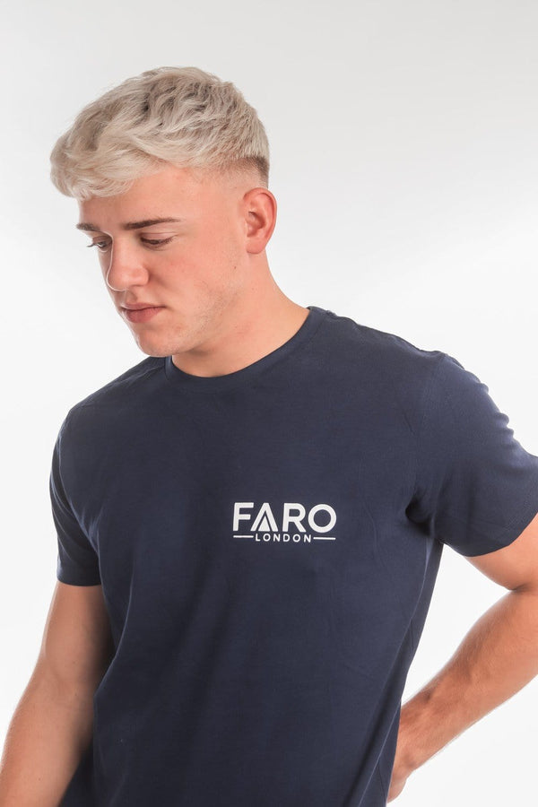 FARO LONDON SMALL LOGO T-SHIRT - NAVY