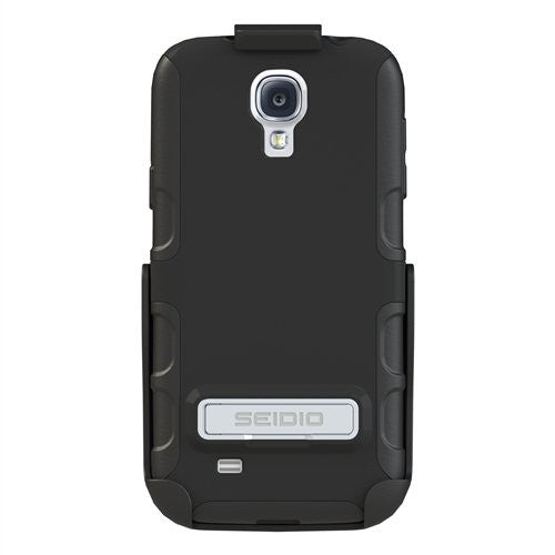 Seidio BD2-HK3SSGS4K-BK with Metal Kickstand Case and Holster Combo for Samsung Galaxy S4 - Retail Packaging - Black