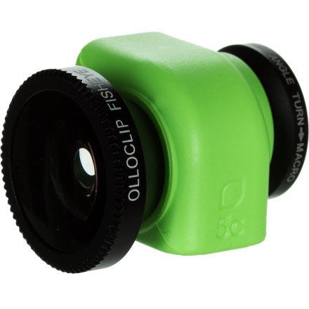 olloclip iPhone 5c 3-IN-1 lens system: Fisheye, Wide-Angle, Macro. Includes: lens caps and bag (Black Lens/Green Clip)