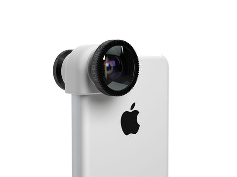 olloclip iPhone 5c 3-IN-1 lens system: Fisheye, Wide-Angle, Macro. Includes: lens caps and bag (Black Lens/White Clip)