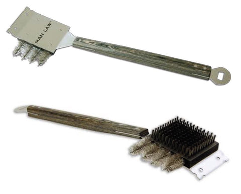 MAN LAW BBQ Giant Grill Brush with Hardwood Handle and Stainless Steel Bristles, 20.6-inch Long