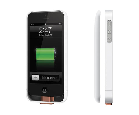 Duracell Powermat PowerSnap Kit - Wireless Charging Case and Backup Battery for iPhone 5 (White)