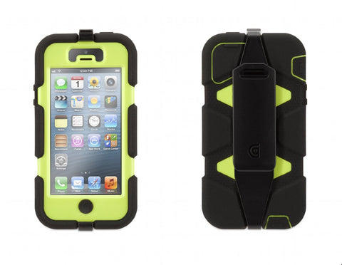 Griffin GB35681 Survivor Case for iPhone 5/5S - 1 Pack - Retail Packaging - Black/Lime