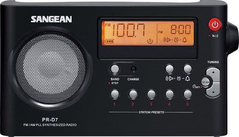 Sangean PR-D7 BK AM/FM Digital Rechargeable Portable Radio - Black