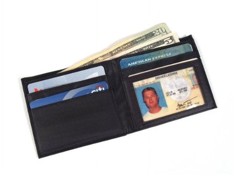 All-Ett Black Leather Inside ID Billfold Wallet