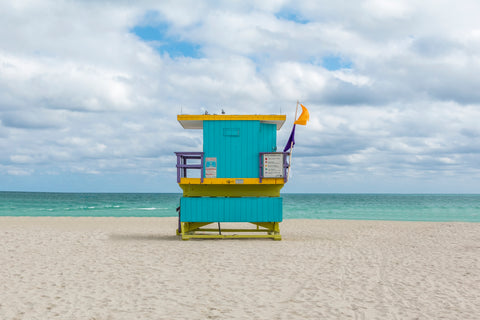This lifeguard chair is located on 16th street on the beaches of South Beach in Miami, Florida.