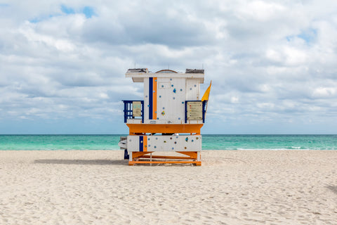This lifeguard chair is located on 17th street on the beaches of South Beach in Miami, Florida.