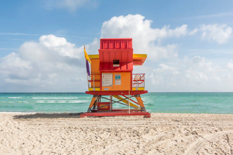 This lifeguard chair is located on 24th street on the beaches of South Beach in Miami, Florida.