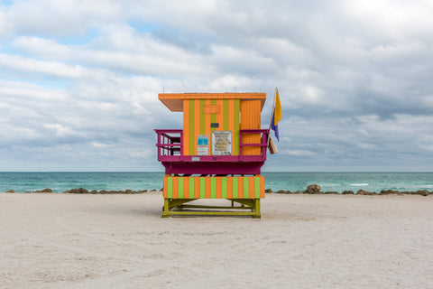 This lifeguard chair is located on 30th street on the beaches of South Beach in Miami, Florida.