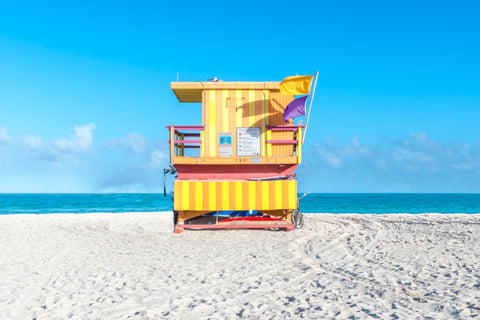 This lifeguard chair is located on 3rd street on the beaches of South Beach in Miami, Florida.