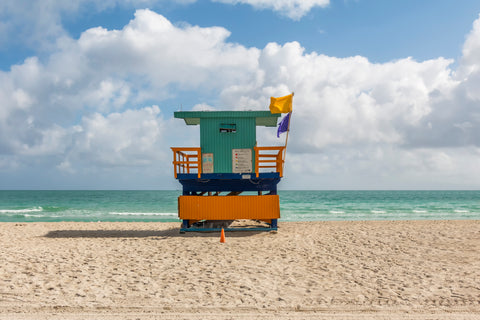 This lifeguard chair is located on 41st street on the beaches of South Beach in Miami, Florida.