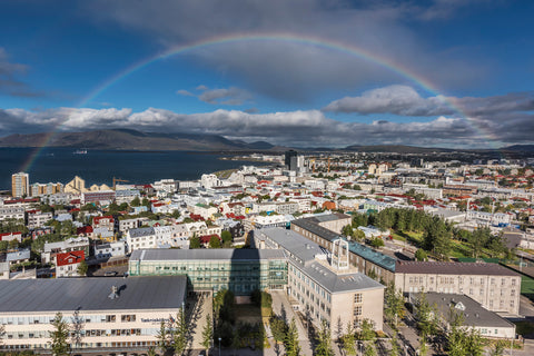 A perfect rainbow over Reykjavik Iceland
