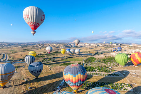 Balloons taking off in Cappadocia Turkey.
