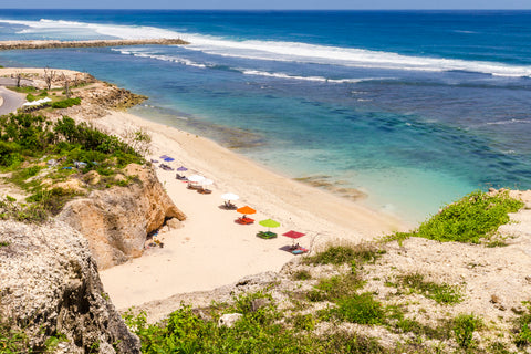 Beach Umbrellas Badung Bali Indonesia, isolated on a private beach in southern Bali.