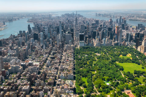 Central Park by helicopter over New York's largest and most beautiful park in midtown and upper Manhattan.