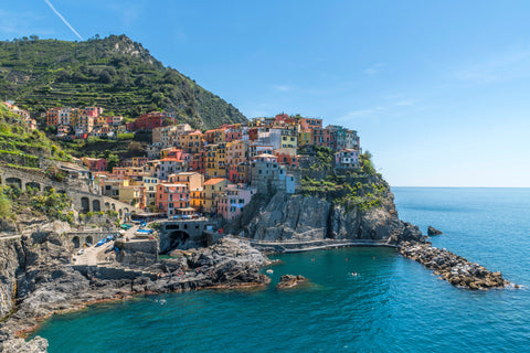Off the coast of Italy, Cinque Terre in Manarola is one of the worlds most beautiful coastline scenes.