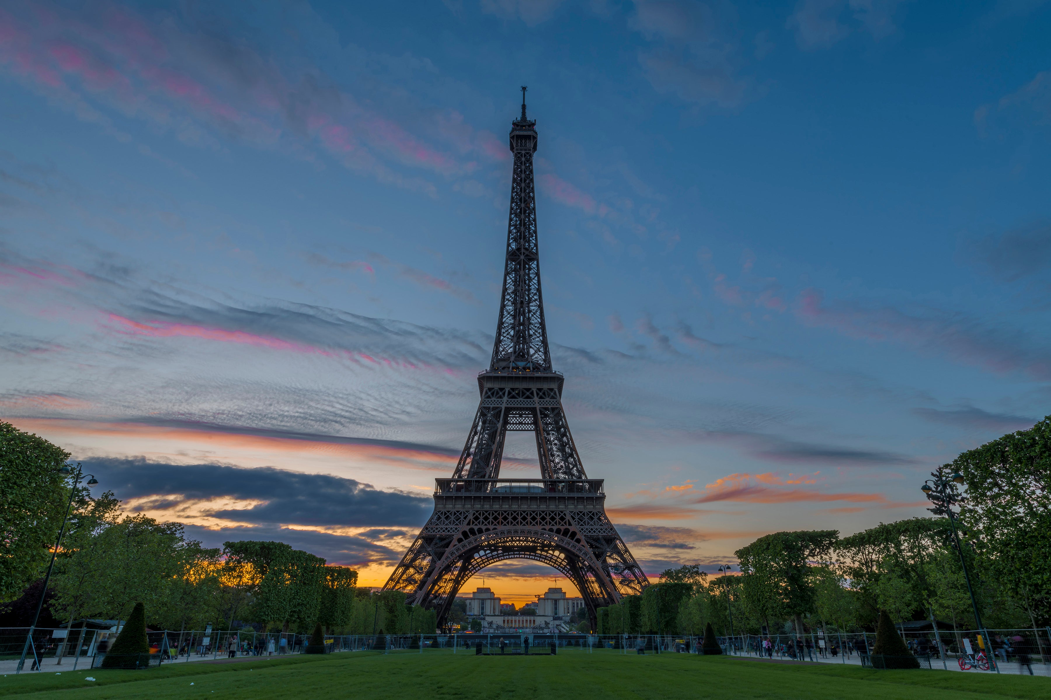 Dusk over Paris and the Eiffel Tower