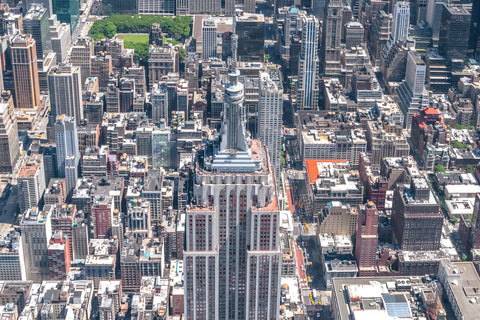 Empire State by helicopter of New York's most famous iconic skyscraper.