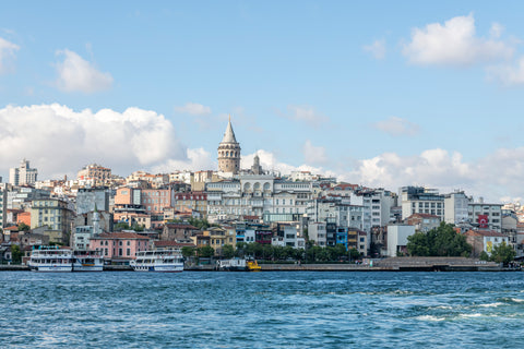 Istanbul Skyline from Bosphorus Strait, Turkey