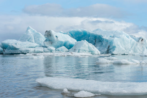 Jokulsarlon Glacier lagoon Iceland, only a few hour drive from Reykjavik to see amazing blue glaciers.