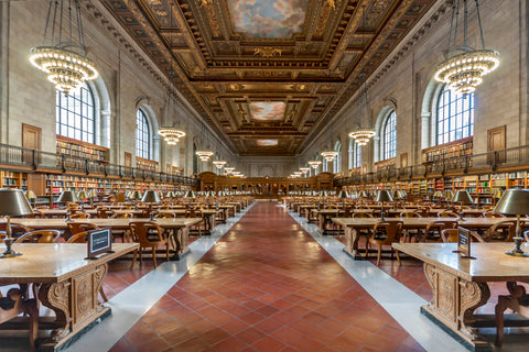 NY Public Library Main Reading Room, one of New York's most beautiful rooms.