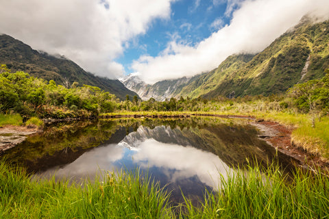 New Zealand reflections shows the beauty of the water, mountains and clouds working together in nature for a serene feeling of time.