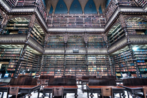 Real Gabinete library in Rio de Janeiro, Brazil is one of the most ornate colorful libraries in the world.