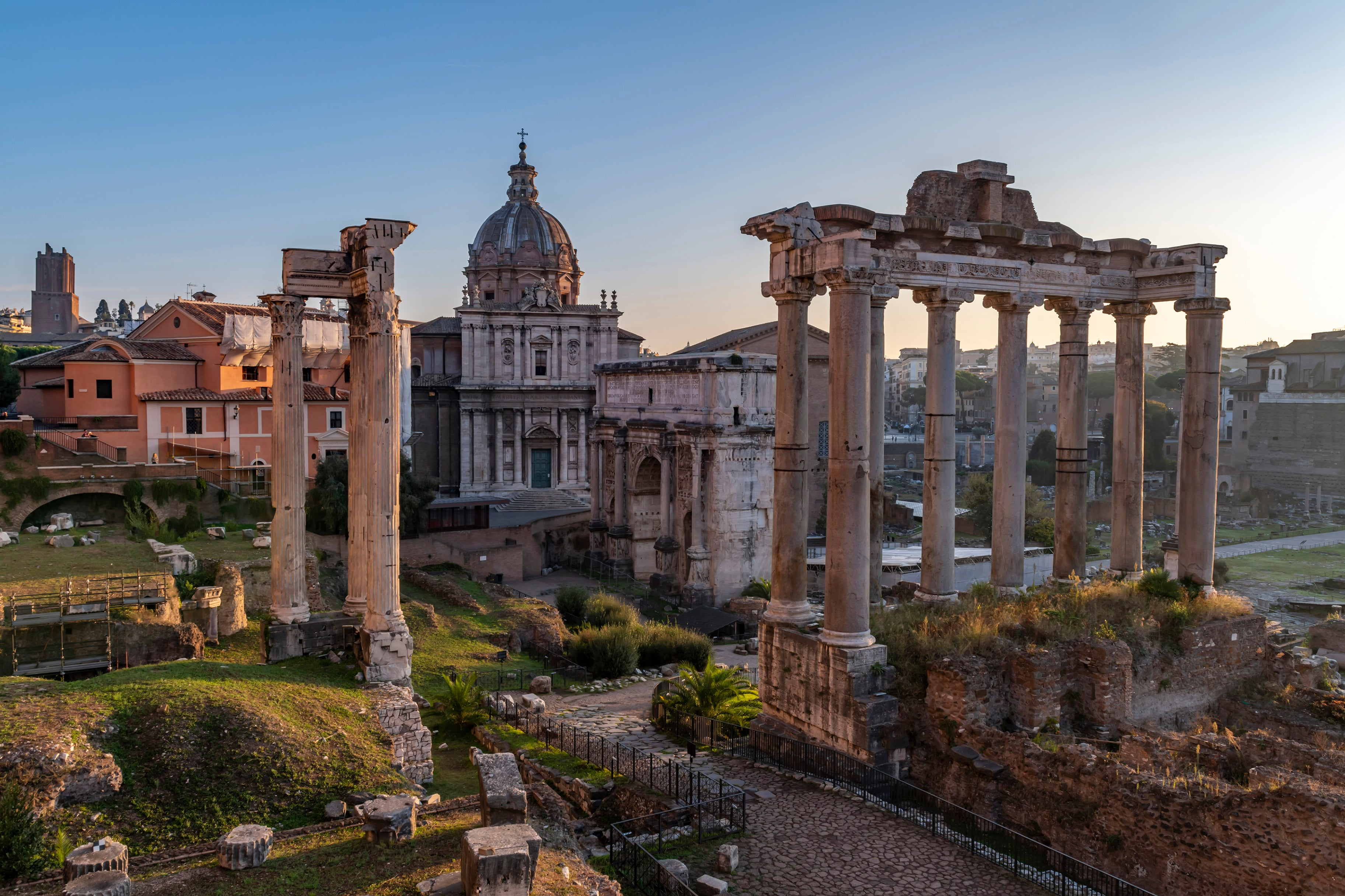 Roman Ruins, Rome, Italy in the morning sunlight