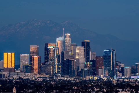Skyline Los Angeles with mountains looming in the background.