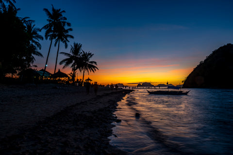 Sunsets on Vanilla Beach in El Nido, Palawan in the Philippines are one of the worlds most spectacular sunsets in all of Asia.