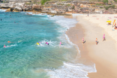 Tilt Shift Bondi Swimmers in Sydney, Australia.