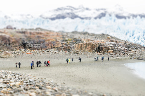Tilt Shift Glacier Perito Moreno, ice, rocks and glaciers in Argentina.