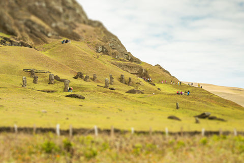 Tilt Shift Rano Raraku EI III on Easter Island, Chile.