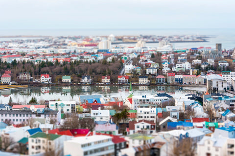 Tilt Shift Reykjavik Houses, winter in Iceland.