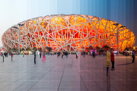 Time Slice Birds Nest in Beijing, China was built for the Olympic games that were held there in 2008.