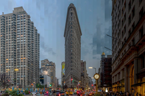 Time Slice Flatiron building in New York. The iconic original skyscraper in the flatiron section of Manhattan.