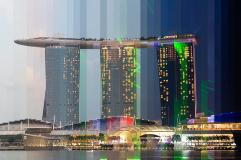 Time Slice Marina Bay Sands Singapore during it's nightly light show.